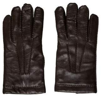 Bergdorf Goodman Cashmere-Lined Leather Gloves