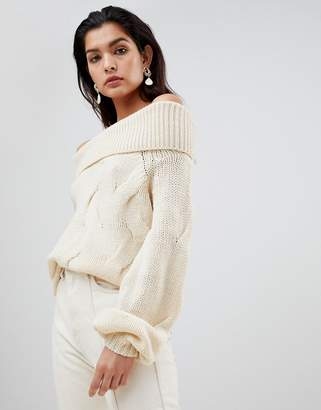 Vila Chunky Cable Knit Off Shoulder Sweater