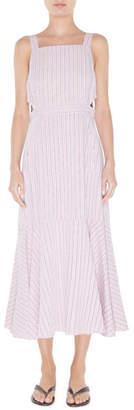 Tibi Striped Viscose Twill Strappy Flared Dress