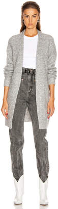 Acne Studios Raya Short Mohair Cardigan in Cold Grey Melange | FWRD