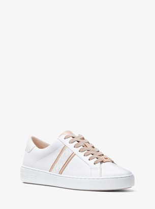 MICHAEL Michael Kors Irving Leather and Logo Stripe Sneaker
