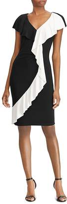 Lauren Ralph Lauren Two-Tone Ruffle-Trim Dress