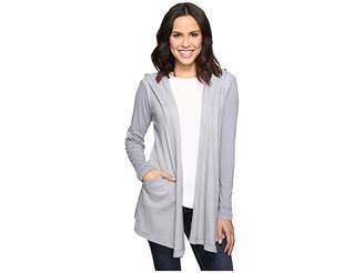 Allen Allen Long Sleeve Hooded Open Cardigan Women's Sweater