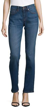 Karl Lagerfeld Paris Women's Mid-Rise Straight Leg Jeans