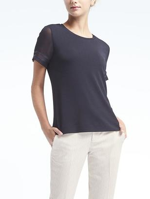 Sheer-Sleeve Tee with Ribbon Trim $39.50 thestylecure.com