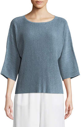 Eileen Fisher Sheer Hemp Bracelet-Sleeve Top, Petite