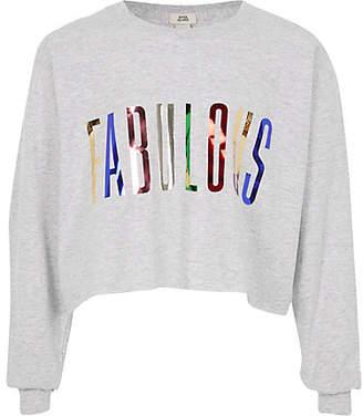 River Island Girls Grey 'fabulous' foil print T-shirt