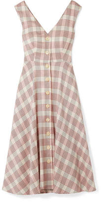 Veronica Beard Finn Checked Crepe Midi Dress - Ecru