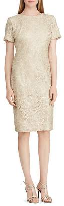 Lauren Ralph Lauren Short-Sleeve Floral-Lace Dress