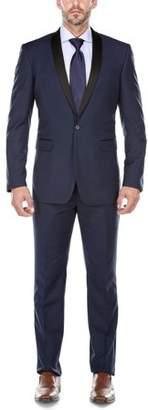 Verno Men's Navy Shawl Collar Tuxedo Slim Fit Suit