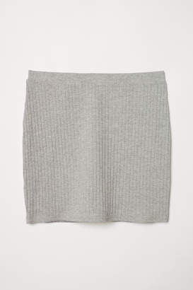 H&M Ribbed Jersey Skirt - Gray