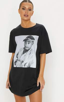 PrettyLittleThing Tupac Dark Grey Portrait Oversized T Shirt Dress