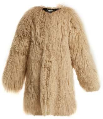 Saint Laurent Oversized collarless shearling coat