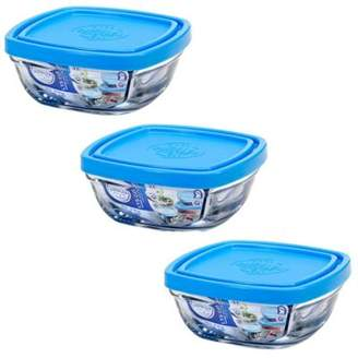 Duralex Stacking Square Glass Lunchbox / Ingredients Food Bowl & Lid - 11Cm - X3