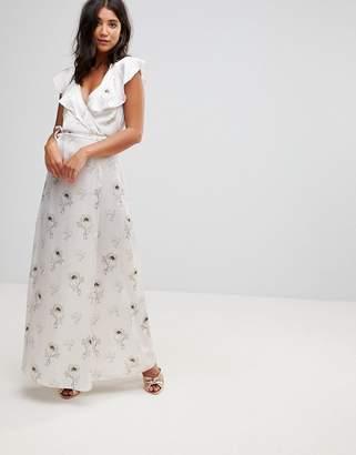 Oh My Love Satin Wrap Maxi Dress With Tie Waist