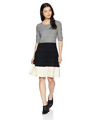 Gabby Skye Women's Petite Elbow Sleeve Round Neck Sweater Fit and Flare Dress