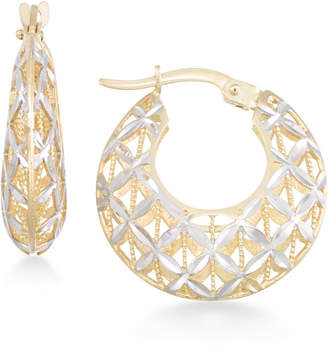 Macy's Openwork Two-Tone Round Chunky Hoop Earrings in 14k Gold and White Gold