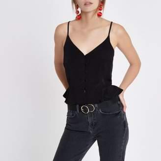 River Island Womens Black peplum hem button front cami top