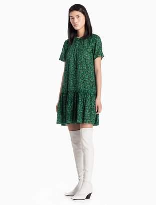 Calvin Klein floral cotton woven short sleeve dress