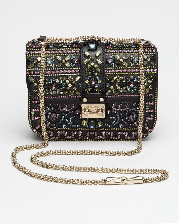 Valentino Crystal-Covered Glam Lock Crossbody Bag