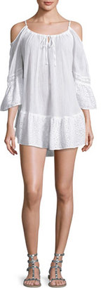 Ale by Alessandra Ibiza Cold-Shoulder Gauze Coverup Dress, White $140 thestylecure.com