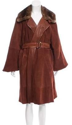Hermes Suede Mink-Trimmed Coat