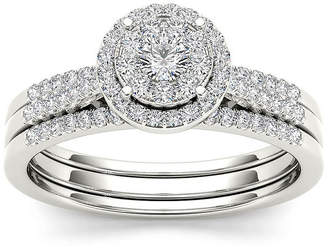 MODERN BRIDE 1/2 CT. T.W. Diamond 10K White Gold Halo Bridal Ring Set