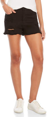 Vervet Black High-Waisted Distressed Denim Shorts