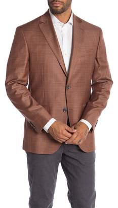 Jack Victor Conway Rust Plaid Two Button Notch Lapel Wool Sport Coat