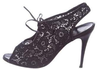 Manolo Blahnik Lace Peep-Toe Booties Black Lace Peep-Toe Booties