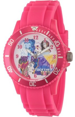 Disney Princess Belle and Beast Women's Pink Plastic Watch, Pink Plastic Strap