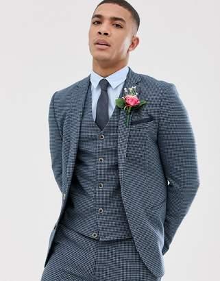 Design DESIGN wedding super skinny suit jacket with blue houndstooth