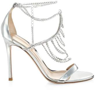 Gianvito Rossi Metallic Silver Crystal Ankle Sandals