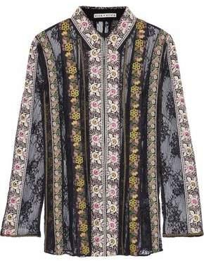 Alice + Olivia Dalia Paneled Embroidered Cotton-Gauze And Lace Shirt