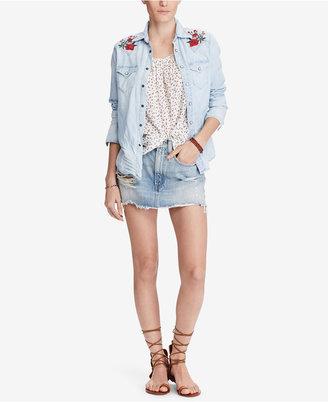 Denim & Supply Ralph Lauren Embroidered Cotton Chambray Shirt $165 thestylecure.com