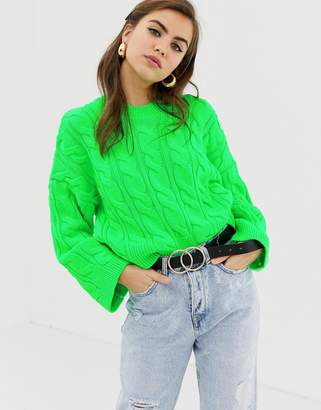 Asos DESIGN neon cable sweater