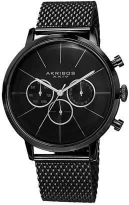 Akribos XXIV Unisex Black Strap Watch-A-714bk