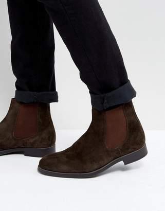 Dune Chelsea Boots In Brown Suede