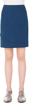 Akris Punto Stretch-Jersey Mini Skirt with Memphis Scallop Detail