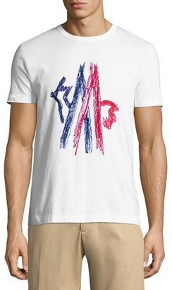 Moncler Embroidered Mountain Logo Crewneck T-Shirt, White/Red/Blue $215 thestylecure.com