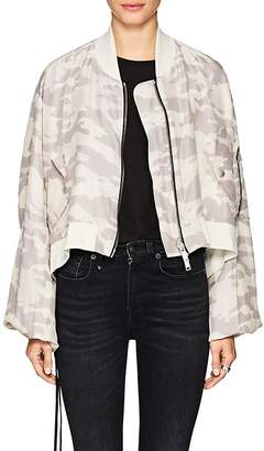 Taverniti So Ben Unravel Project Women's Camouflage Silk Crop Bomber Jacket