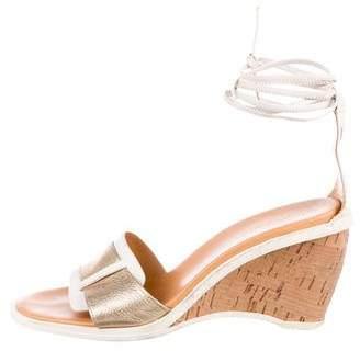 Hogan Leather Wedge Sandals
