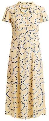 Morgan Hvn Heart Print Silk Long Dress - Womens - Yellow Print