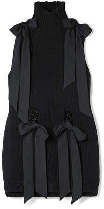 Simone Rocha Bow-detailed Merino Wool Turtleneck Top - Black