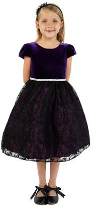 Kids Dream Velvet Black Lace Dress Purple