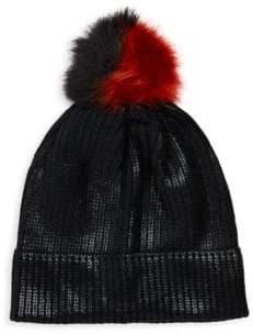 San Diego Hat Company Faux Fur Pom-Pom Sequin Beanie