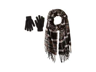 Steve Madden Plaid Boucle Blanket Wrap with Etouch Glove Set