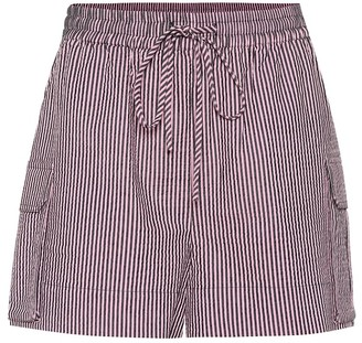 Ganni Striped seersucker shorts