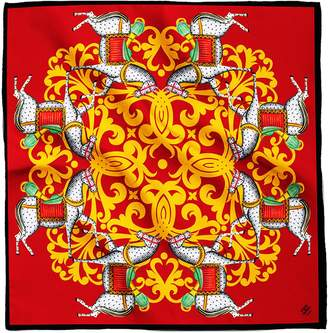 House of Gharats - Kalighat Horse Classic Silk Scarf Collection Yellow & Red