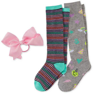 Icons Capelli Of N.Y. Fun 2pair Knee High Socks and Bow Set